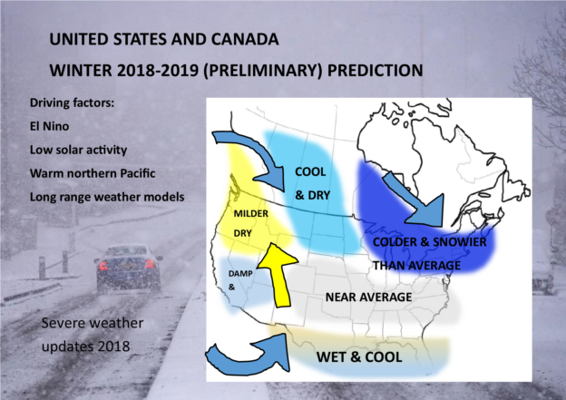 Official Winter 2018-2019 By Location Forecast: New EL NINO Alert -
