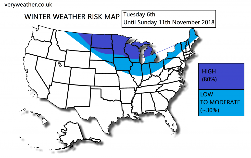 Winter weather risk map ite forecast for the United States 1 update